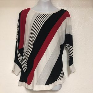 Red white and blue shimmery light weight sweater